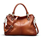 Kattee Women's Urban Style Genuine Leather Tote Satchel Shoulder Handbag Brown
