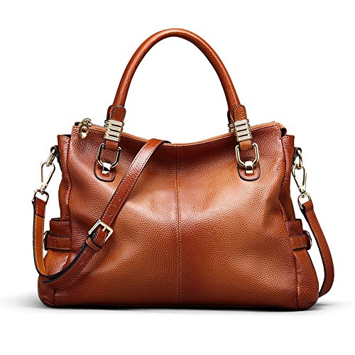 (Kattee Women's Urban Style Genuine Leather Tote Satchel Shoulder Handbag Brown )