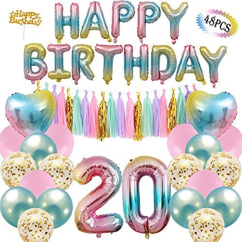 20th Birthday Decoration Party Supplies Number 1 Balloon Happy Birthday Banner 20 Paper Tassels 6 Confetti Balloons 2 Heart Balloons 6 Latex Balloons Rainbow Balloon Gradient Balloon
