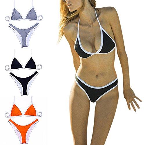 iBaste Bikinis Mujer Lucha Contra el Color Cuello Colgante Traje de Caño Split Naranja