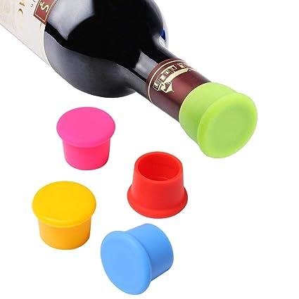 Vicloon Set de 5 Tapones para Botellas, Tapones de Vino Silicona, Tapa de Botella