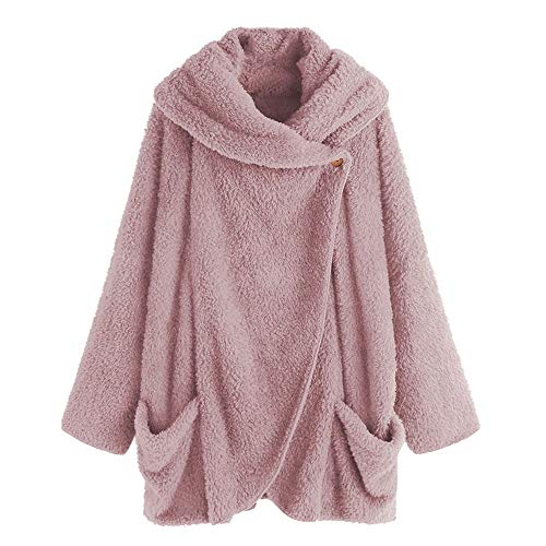 (COPPEN Women Coat Button Fluffy Tail Tops Hooded Pullover Loose Sweater (Pink 2,)