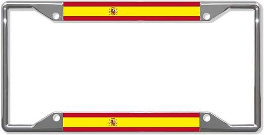Marco de metal para placa de vehículo con bandera de España, cuatro agujeros, perfecto para hombres y mujeres, decoración de garadge de coche: Amazon.es: Jardín