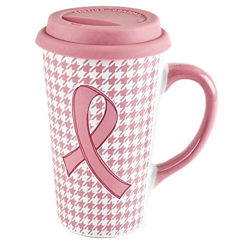 Blue Harbor Collections Breast Cancer Awareness Travel Coffee Mug Pink Houndstooth Lid 16 Ounces