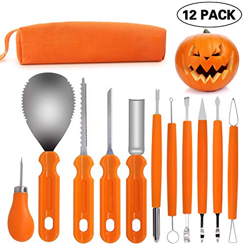 Pumpkin Carving Tool 12PCS - Heavy Duty Stainless Steel Pumpkin Cutting Tools Set for Halloween Decorations Jack-O-Lanterns with Carrying Bag