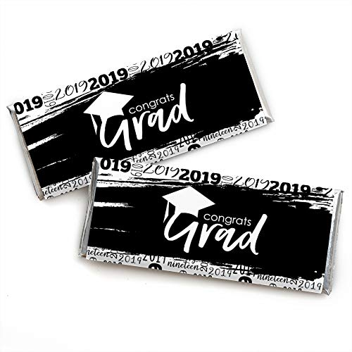 Black & White Grad - Best is Yet to Come - Candy Bar Wrapper Black and White 2019 Graduation Party Favors - Set of 24]()