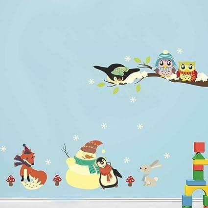YSNMM Pegatinas De Pared Dibujos Animados Pingüino Búho Conejo ...