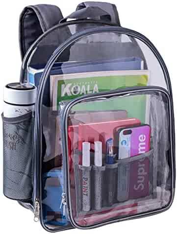 ee2281235ac7 Heavy Duty Clear Backpack Durable See Through Student School Bookbag  Quality Transparent Workbag Easy Stadium Security