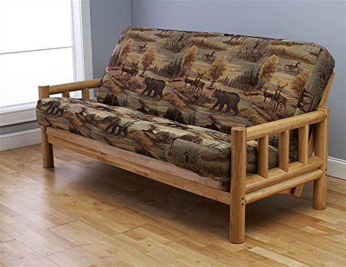 Futon Frame and Full Size Mattress Set. This Rustic Log Frame Sofa Set Easily Converts to Full-size Bed. Nice. The Wildlife Upholstery Is Great in Hunting Cabin, Cottage or Log Home. 8 Thick Sleeper P