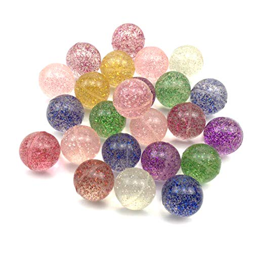 STUDYY 20 Pcs Glitter Bouncy Balls Bulk Set, Assorted Colorful Bouncing Balls Party Bag Filler for Kids Playtime, Party Favors, Prizes, Birthdays & More, 1.18 Inches