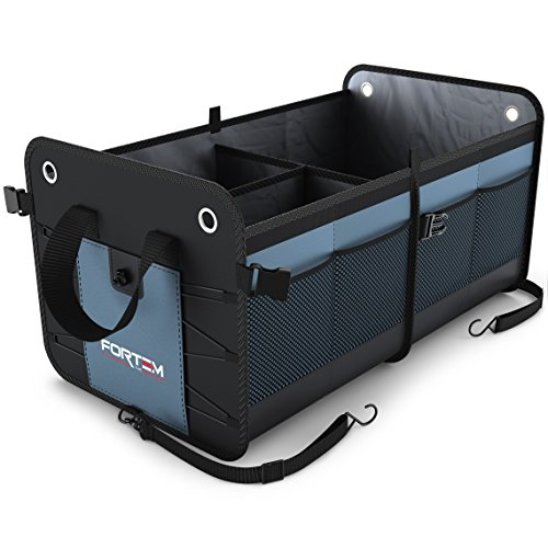 Heavy Duty Auto Trunk Organizer by FORTEM For Car, SUV, Truck - Premium Quality Durable Collapsible Cargo Storage - Straps and Non Slip Bottom Strips to Prevent Sliding w/ Bonus Micro Fiber Towels