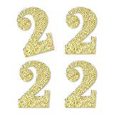 Gold Glitter 2 - No-Mess Real Gold Glitter Cut-Out Numbers - 2nd Birthday Party Confetti - Set of 24