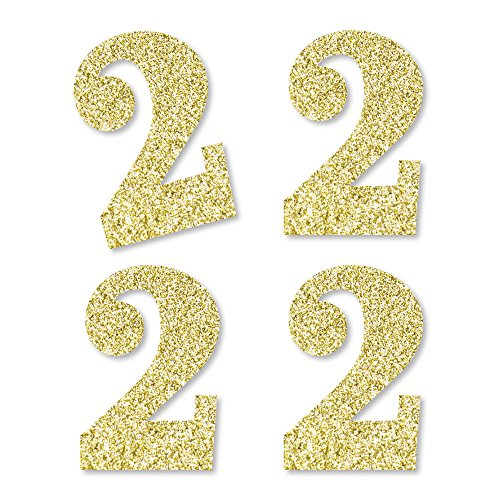 Gold Glitter 2 - No-Mess Real Gold Glitter Cut-Out Numbers - 2nd Birthday Party Confetti - Set of 24 by Big Dot of Happiness