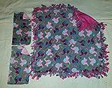 Handcrafted Fleece Elephant Blanket and Burp Rag Set
