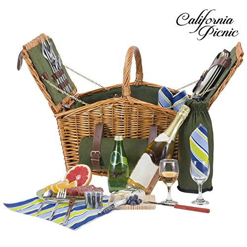Picnic Basket Set - 4 Person Picnic Hamper Set - Double Lid - Beach Collection -Waterproof Picnic Blanket Ceramic Plates Metal Flatware Wine Glasses S/P Shakers Bottle Opener Green Lining Picnic Set