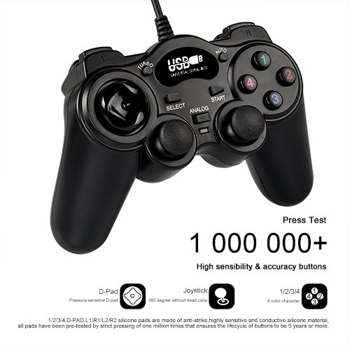 Game Controller,USB Wired Joypad with Dual Shock Joystick Gamepad for PC/Computer/Laptop(RECCAZR GP003 Black)