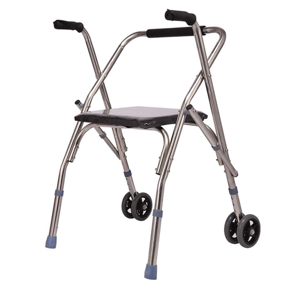 適切な価格 ステンレス鋼管リハビリ用歩行器 - シートウォーカー付きホイール付き老人障害付き折りたたみ式カートベビーカー - 黒いスポンジ座面 - B07L5MKWJB - 調節可能な5つのファイル - B07L5MKWJB, オオイグン:76fbb372 --- a0267596.xsph.ru