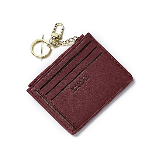 Card Case Mini Wallet - Women's Small Compact Leather Card Wallet Ladies Mini Sleeve Coin Purse with Zipper (Red)