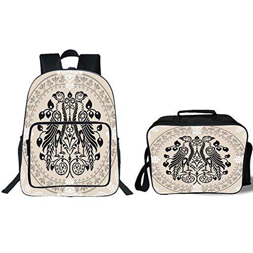 "19"" School Backpack & Lunch Bag Bundle,Vintage,Ethnic Herald"