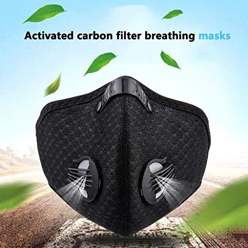 Dust Mask - Activated Carbon Dustproof Mask Adjustable Mouth Mask Activated Carbon Filter Respirator - Protection From Dust, Pollen, Pet Dander, Other Airborne Irritants (Black) ( Color : 5 pcs )