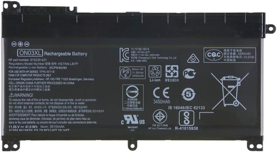 Jinyue New ON03XL Laptop Battery for Hp TPN-W118 Pavilion M3-U X360 Series Notebook HSTNN-UB6W 915230-541 915486-855 (11.55V 41.5Wh 3610mAh)