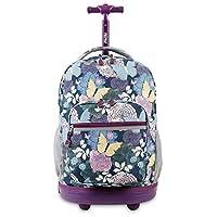 DH Kids Purple Butterfly Floral Theme Rolling Backpack, Beautiful Garden Flowers, Pretty Butterflies Print Suitcase, Girls School Bag, Duffel with Wheels, Wheeling Luggage, Lightweight, Fashionable