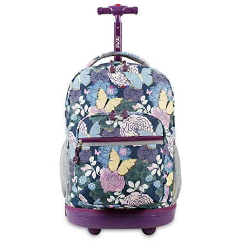 Butterfly Garden Backpack - DH Kids Purple Butterfly Floral Theme Rolling Backpack, Beautiful Garden Flowers, Pretty Butterflies Print Suitcase, Girls School Bag, Duffel with Wheels, Wheeling Luggage, Lightweight, Fashionable