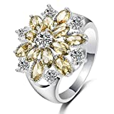 LILILEO Jewelry S925 Simple Flower Shape Inlaid Yellow Zircon Ring For Women's Wedding Rings