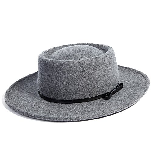 - Jeff & Aimy 100% Wool Felt Pork Pie Hat Women Winter Fedora Party Derby Hats with Brim Church Top Stylish Grey