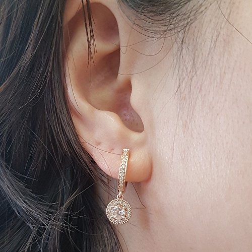 10K Rose Gold Round Morganite & White Diamond Ladies Halo Style Dangling Drop Earrings by DazzlingRock Collection (Image #5)