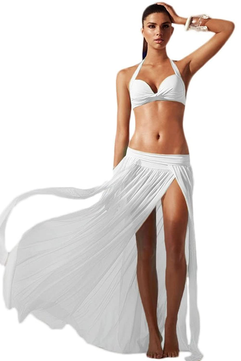 NICE BUY Damen Mesh-Maxi-Strandkleid Bikini Cover UP Sommerkleid