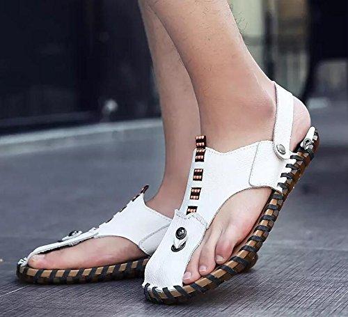 Xing Lin Flip Flop De La Playa Nuevo Hombre De Sandalias De Playa De Doble Uso Zapatos Verano Hombres Transpirable Zapatos Casual Zapatillas Sandalias Zapatos Marea De Hombres HY107 white