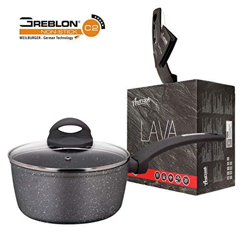 Lava Stone by Amercook. 2-Layer Non-Stick Sauce Pan & Glass