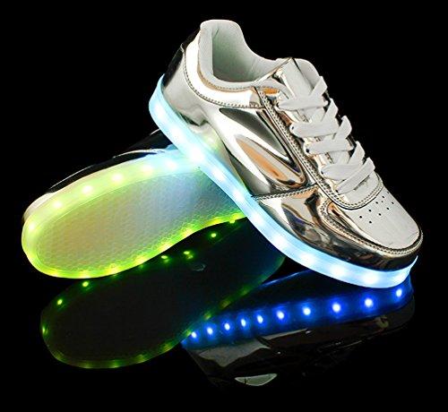 Santimon Uomini Donne Caricatore Usb Unisex 7 Colori Luci Led Scarpe Da Ginnastica Sportive Luminose Sneaker Coppie Scarpe Argento