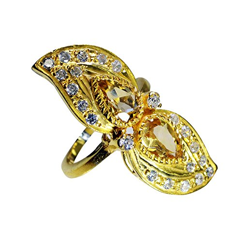 - Jewelryonclick Pear Citrine CZ Gold Plated Ring Cluster Style Yellow Stone Size 4,5,6,7,8,9,10,11,12
