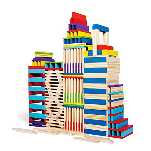 Toyssa 102 Pieces Building Blocks Stacking Game Wooden Construction Toys Building Planks Set for 3 4 5 6 Year Old Kids Children Boys and Girls