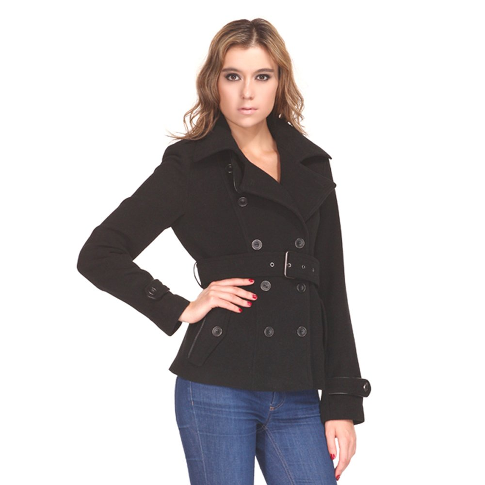 Zareen by BC24 Women's Wool Short Coat with Belt Large Black