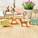 UChic 6PCS Korea Cute Creative Wooden Memo Clip Desk Cartoon Animal Postcard Trojans Message Folders / Notes Folder Clip Foto Style Random