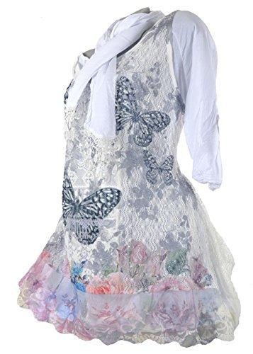 3tlg Lagenlook Sommer Spitze Tunika Kleid Schmetterling Unterkleid Hängerchen Schal Shirt Netz Optik 36 38 40 42 44 S M L XL Schwarz Weiß