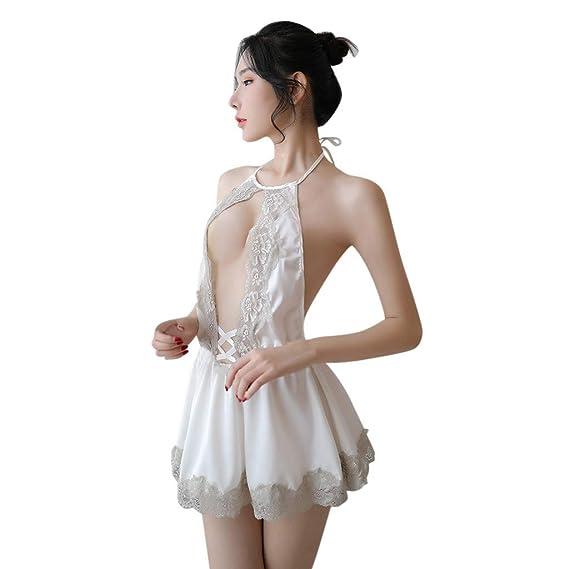 Tongshi Las Mujeres De Moda Sexy De Encaje SóLido Ropa De Dormir De Las SeñOras De Encaje Sin Espalda CamisóN Pijamas Tentador Encaje Costura Vestido: ...