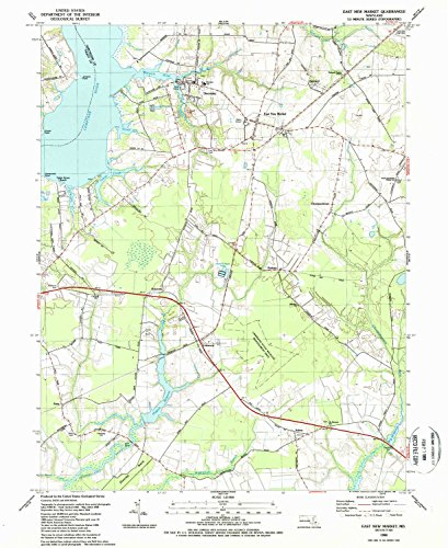 East New Market MD topo map, 1:24000 scale, 7.5 X 7.5 Minute, Historical, 1988, updated 1988, 26.7 x 21.8 IN - - Street The Market Woodlands