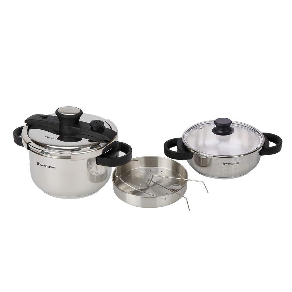 Wonderchef Easy Lock Stainless Steel Pressure Cooker Set, 2
