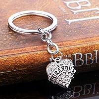 Leng QL Pretty Keyring Decoration Rhinestone Heart Letter Pendant Metal Keyring Purse Hand Bag Car Charm Keychain Gift (Grandma)