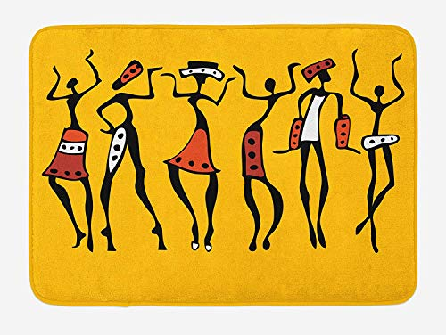 African Bath Mat African Dancers Sketchy Characters Ethnic Group Clan Disco Happy Graphic Plush Bathroom Decor Mat with Non Slip Backing Mustard Orange 36