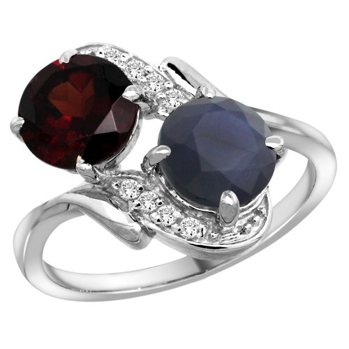 Gold Garnet 14k Ring Natural (14k White Gold Diamond Natural Garnet & Quality Blue Sapphire 2-stone Mothers Ring Round 7mm, size 7.5)