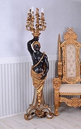 barroca candelabro lámpara de pie Veneciano MOHR Negro ...