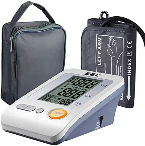 EBL Blood Pressure Monitor with Arm Large Cuff, Carrying Bag, 4 User Memory Mode BP Monitor - FDA Approved