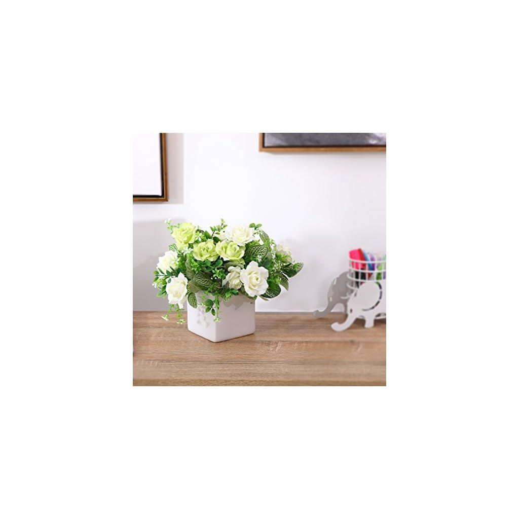 MyGift-Decorative-Artificial-Rose-Floral-Arrangement-in-Square-White-Ceramic-Vase