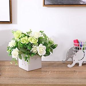 MyGift Decorative Artificial Rose Floral Arrangement in Square White Ceramic Vase 2