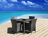 Outdoor Patio Wicker Furniture All Weather Resin 5-Piece Dining Table & Chair Set from Mango Home
